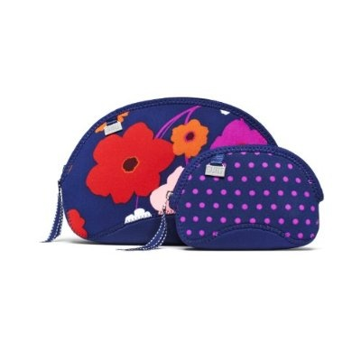 BUILT Zip Cosmetic Case Lush Flower and Mini Dot Navy Medium Set of 2