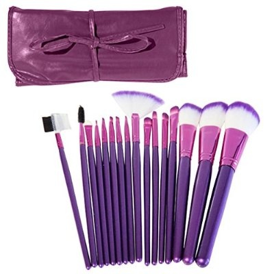 Evelots 16 Piece Cosmetic Makeup Brush Set Protective Travel Pouch Case Purple