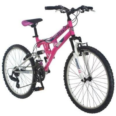 Mongoose Exlipse 24 Girls Dual Suspension Mountain Bike Pink