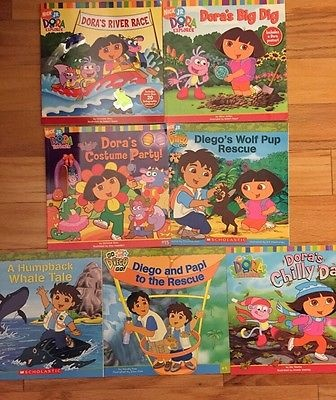 Lot of 7 Dora the Explorer Nick Jr Paperback books By Scholastic