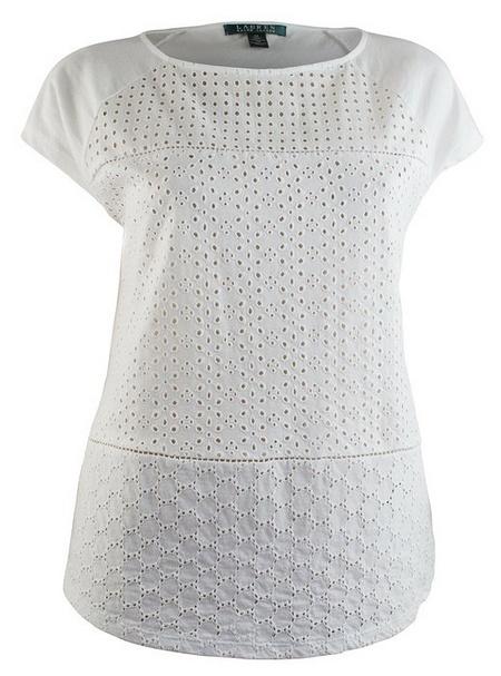 Women S Petite Short Sleeve Eyelet Shirt Blouse Top
