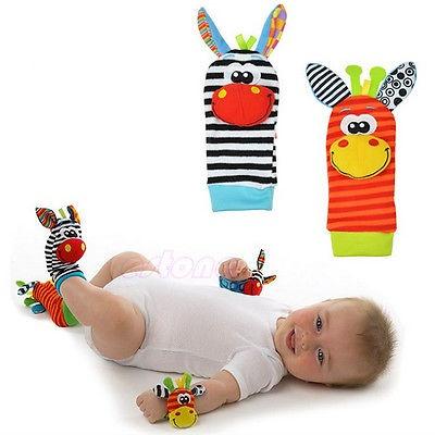 1Pairs Cute Animal Baby Infant Kids Foot Sock Rattles Toys Developmental Soft