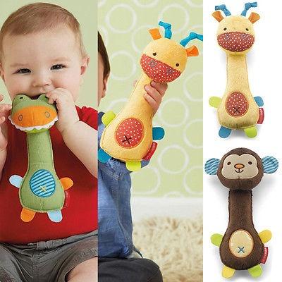 1Pcs Cute Baby Toy Animal Baby Development Toy Giraffe Safari Squeeze-Me