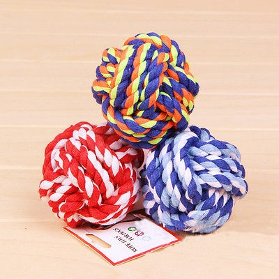 Hot New Cute Pet Puppy Cat Dog Cotton Rope Braided Knot Ball Play Bite Toy