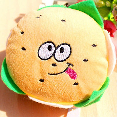 Style Plush Toy Pet Puppy Chew Play Squeaker Squeaky Dog Sound Hamburger Shape