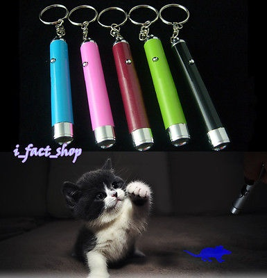 LED Laser Pointer Light with Bright Mouse Animation Pet Cat Kitty Play Toy 1pcs