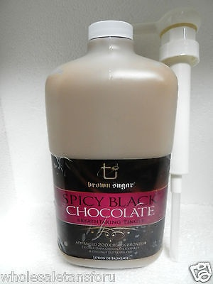64oz SPICY BLACK CHOCOLATE 200X HOT BRONZER TANNING BED TAN LOTION BROWN SUGAR