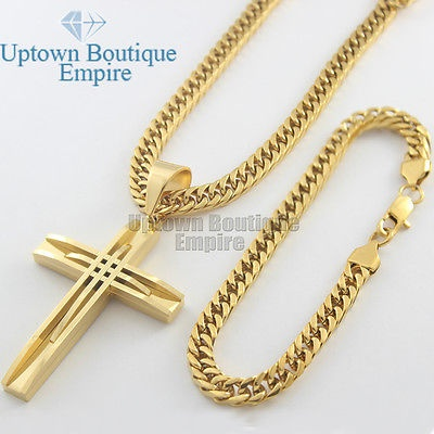 24 mens stainless steel gold cuban link chain necklace bracelet 24 mens stainless steel gold cuban link chain necklace bracelet cross aloadofball Image collections