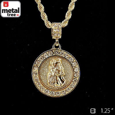 Mens hip hop gold plated jesus piece 24 4mm rope chain pendant aloadofball Choice Image