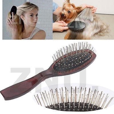 PRO BROWN WIRE 9-ROW STEEL TOOTH CUSHION WIG BRUSH HAIR COMB FOR WOMEN & PUPPY