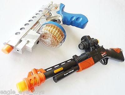2x Toy Guns Electronic 9MM Machine Pistol & Toy Shotgun with Flashing Sound FX