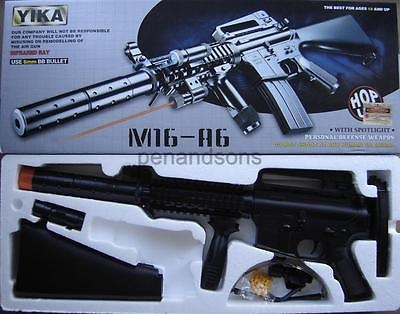 New M16A6 Airsoft Spring Rifle Gun w6mm bb Light Laser Foregrip Safety Goggles