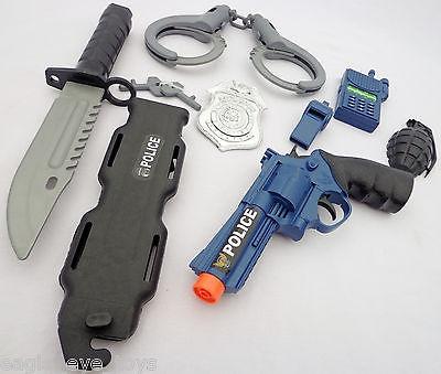 Toy Revolver Gun Pistol Police Detective Guns HUGE 7PC Set Kids SAFE
