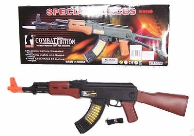 light up BATTERY OPERATED TOY AK47 MACHINE GUN RIFLE moving barrel military new