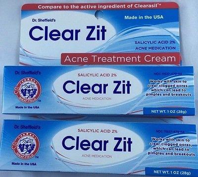 Clear Zit Acne Treatment DR. SHEFFIELD'S Cream Strength 2% Salicylic Acid  ...