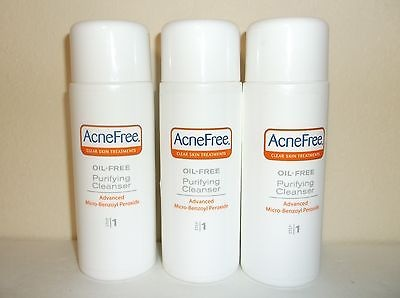 LOT OF 3 Acne Free Clear Skin Treatments STEP 1 PURIFYING CLEANSER Oil Free 4 oz
