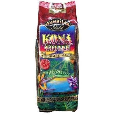 Hawaiian Gold Kona Coffee Gourmet Blend Coffee 1 Lb. Whole Beans New