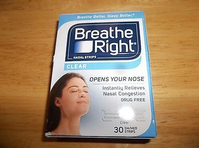 Breathe Right Nasal Strips 30 CLEAR SMMED Strips