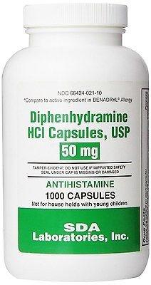 Generic Benadryl Allergy - Diphenhydramine (50mg) - 1000 Capsules Pack of 1