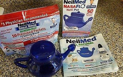 NeilMed NasaFLO Neti Pot w 50 Premixed Packets+ 45 packs FREE 718 Sinus Rinse
