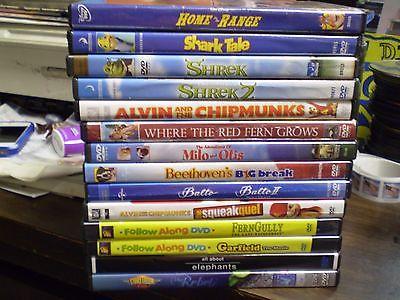 (17) Childrens Animal DVD Lot Disney (2) Madagascar (2) Shrek Alvin Shark Tale